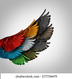 Alliance concept and working together business idea as a diverse group of bird wings coming as one to form a giant powerful wing as a synergy metaphor for cooperation success and employee support.