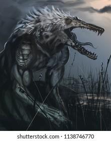 Alligator were creature in a dark swamp monochrome color - digital fantasy painting