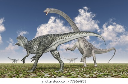 Allosaurus attacks Diplodocus Computer generated 3D illustration