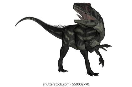 Allosaurus dinosaur roaring - 3D render