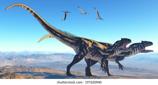 Allosaurus on Mountain - Two Allosaurus dinosaurs look for prey on a high mountain as Pterosaurs watch them.