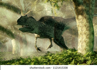 An allosaurus stalks a dense Jurassic era forest.  The dinosaur turns to look at you and bears its teeth as it comes around a tree. 3D Rendering
