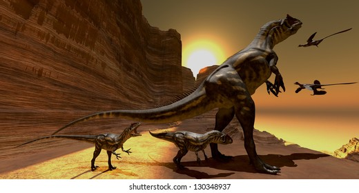 Allosaurus at Sunset - Mother Allosaurus watches as two Microraptors fly to mountain cliffs to roost for the night.