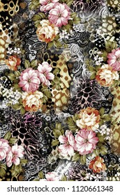 All-over design with animal skins and flowers
