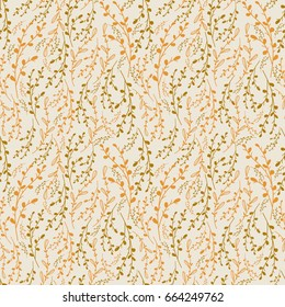 All-Over Print Background, Repeat Pattern in Gold and Green, Ornate, Elegant, Dense Pattern