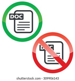 Allowed and forbidden signs with document with text DOC, isolated on white