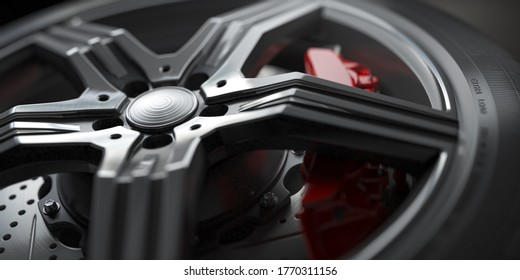 Roue de voiture isolée avec freins à disque en gros plan sur fond noir et blanc. Illustration 3d