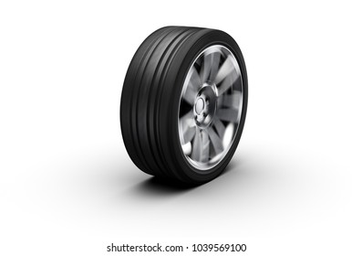 alloy whell spinning, motion blur, isolated on white background, photorealistic 3d render, generic design, non-branded