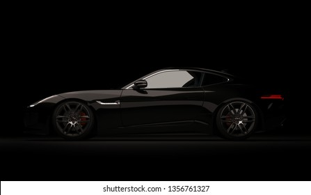 Almaty, Kazakhstan. April 01: Jaguar F-type SVR luxury stylish fast sport car on black background. 3D render