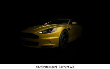 Almaty, Kazakhstan. April 15: British luxury sport car coupe Aston Martin DBS on black background. 3D render