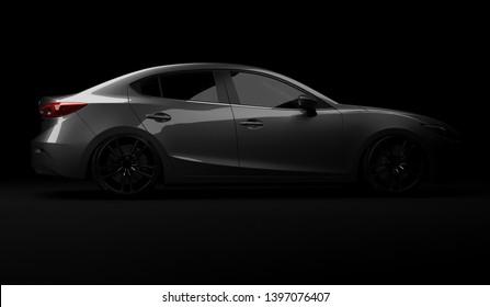 Almaty, Kazakhstan. April 29: Japan business sedan car Mazda 3 on black background. 3D render