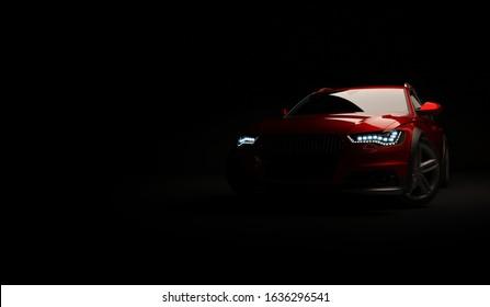 Almaty, Kazakhstan. February 02, 2020: Audi A6 allroad quattro luxury stylish car on dark background. 3D render