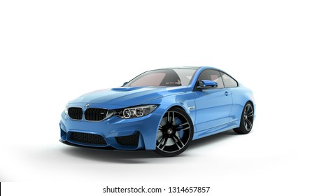 Almaty, Kazakhstan; February 10, 2019. BMW M4 F82 on the isolated background. 3D render. - Illustration