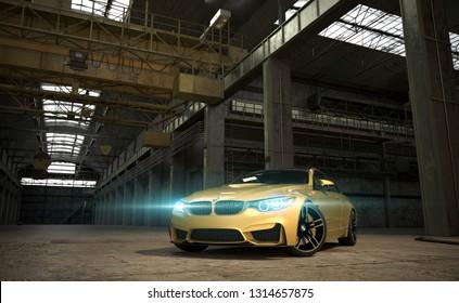 Almaty, Kazakhstan; February 10, 2019. BMW M4 F82 on the industrial background. 3D render. - Illustration