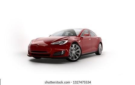 Almaty, Kazakhstan; February 25, 2019. Tesla model S on the isolated background. 3D render.