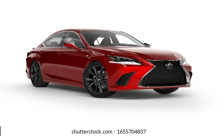 Almaty, Kazakhstan - February 25, 2019: All new Lexus ES 350 F SPORT isolated on white background. Luxury sedan in white studio light. Clipping path included. 3d render