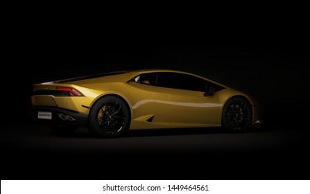 Almaty, Kazakhstan. Juli 05: Lamborghini Huracan. luxury stylish sport car on dark, black background. 3D render