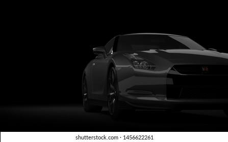 Almaty, Kazakhstan. Juli 15, 2019: Nissan GTR supercar. On dark background. 3D render