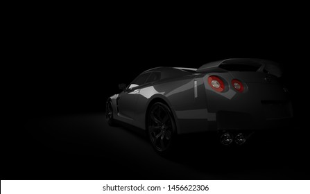 Almaty, Kazakhstan. Juli 15, 2019: Nissan GTR supercar. On dark background. 3D render