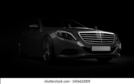 Almaty, Kazakhstan - Juli 16, 2019: Mercedes-Benz S-class S500 AMG stylish luxury business class car, w222, on dark background. 3d render