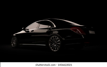 Almaty, Kazakhstan - Juli 16, 2019: Mercedes-Benz S-class S500 AMG stylish luxury business class car, w222, on dark background. 3d render