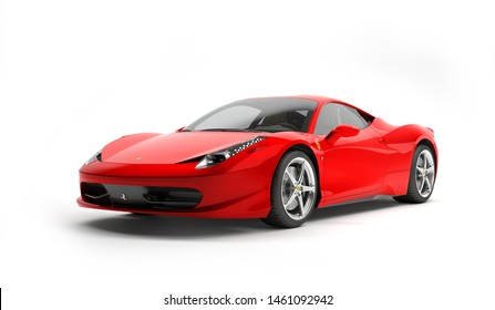 Almaty, Kazakhstan. Juli 25, 2019: Ferrari 458 Italia Pininfarina. luxury stylish supercar Isolated on white background. 3D render