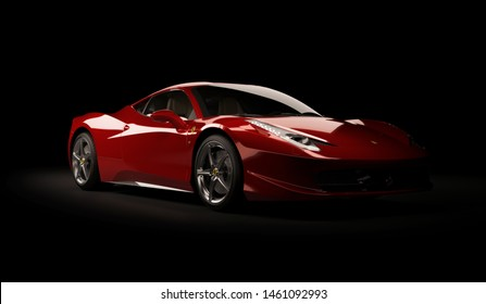 Almaty, Kazakhstan. Juli 25, 2019: Ferrari 458 Italia Pininfarina. luxury stylish supercar on dark background. 3D render