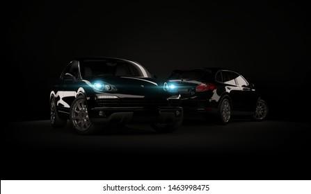 Almaty, Kazakhstan. Juli 28, 2019: Porsche cayenne 958. luxury stylish car on dark, black background. 3D render