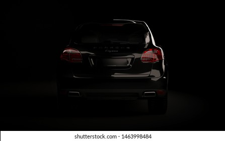 Almaty, Kazakhstan. Juli 28, 2019: Porsche cayenne 958. luxury stylish car on dark, black background. 3D render