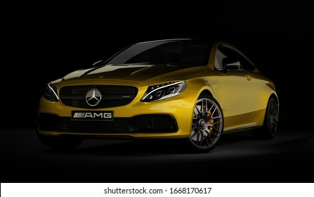 Almaty, Kazakhstan - March 05, 2020: MERCEDES C63S AMG Luxury Sports Coupe on black background. 3d render