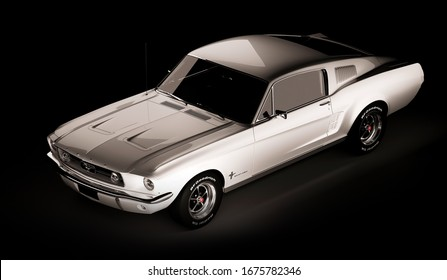Almaty, Kazakhstan - March 15, 2020: Ford mustang 1967 retro sport car coupe on black background. 3d render