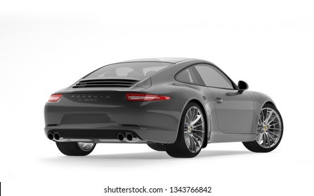 Almaty, Kazakhstan. MARCH 18: Porsche 911 carrera turbo luxury stylish fast sport car on isolated white background. 3D render
