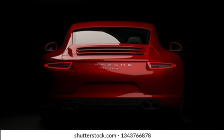 Almaty, Kazakhstan. MARCH 18: Porsche 911 carrera turbo luxury stylish fast sport car black dark background. 3D render