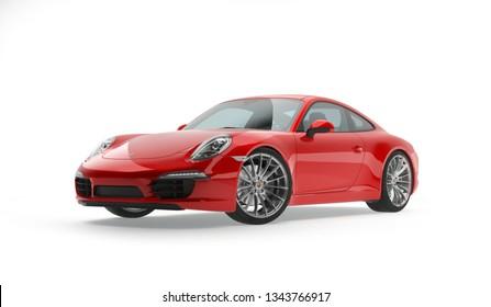 Almaty, Kazakhstan. MARCH 18: Porsche 911 carrera turbo luxury stylish fast sport car on isolated white background. 3D render