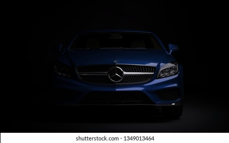 Almaty, Kazakhstan - march 24, 2019: Mercedes-Benz cls 500 AMG stylish luxury business class fast car on dark background. Mercedes-Benz logo and bumper. 3d render