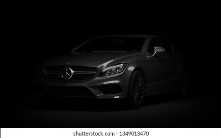 Almaty, Kazakhstan - march 24, 2019: Mercedes-Benz cls 500 AMG stylish luxury business class fast car on dark background. 3d render