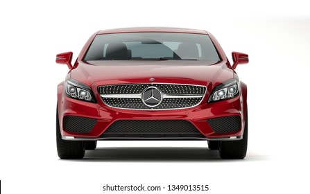 Almaty, Kazakhstan - march 24, 2019: Mercedes-Benz cls 500 AMG stylish luxury business class fast car on isolated white background. 3d render