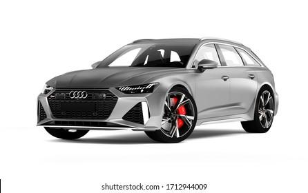 Almaty, Kazakhstan. MARCH 28, 2020: Audi RS6 Avant luxury stylish car isolated on white background. 3D render