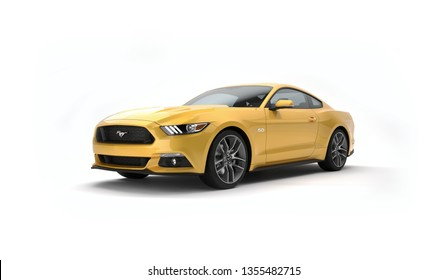 Almaty, Kazakhstan. MARCH 28: Ford Mustang V8 5.0L. luxury stylish car isolated on white background. 3D render
