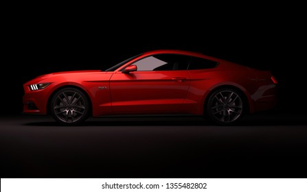 Almaty, Kazakhstan. MARCH 28: Ford Mustang V8 5.0L. luxury stylish car on dark, black background. 3D render