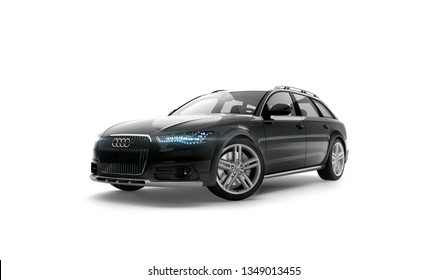 Almaty, Kazakhstan. MARCH 8: Audi A6 allroad quattro luxury stylish car on isolated white background. 3D render