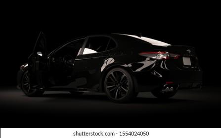 Almaty, Kazakhstan, november 5, 2019. Toyota Camry 70 on the black background. 3D render