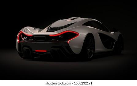 Almaty, Kazakhstan - Oktober 22, 2019: Mclaren P1 stylish luxury supercar on dark background. 3d render