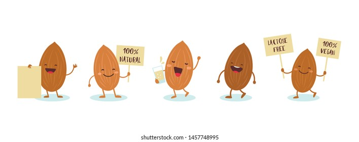Almonds characters holding signs saying Vegan friendly, 100 percent natural, lactose free. illustration