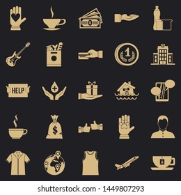 Alms-deed icons set. Simple set of 25 alms-deed icons for web for any design