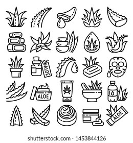 Aloe icons set. Outline set of aloe icons for web design isolated on white background