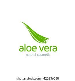 Aloe Vera logo template. Green leaf aloe vera label or icon.