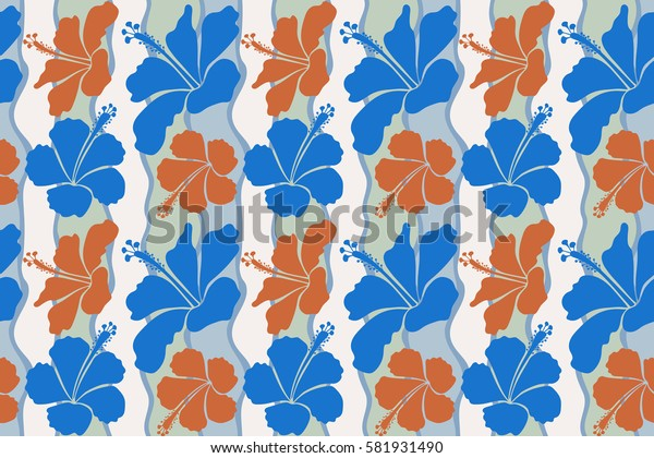 Aloha Hawaii, Luau Party invitation with blue and orange hibiscus flowers. Aloha T-Shirt design. Best creative design for poster, flyer, presentation. Seamless pattern.