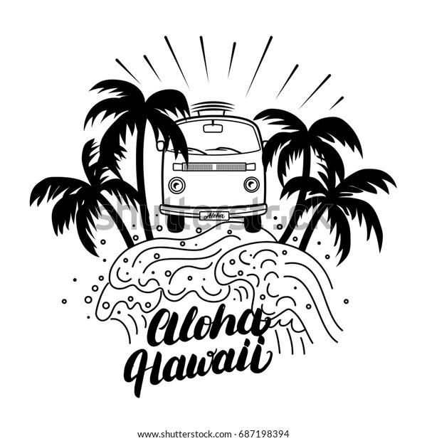 Aloha Hawaii Print Hand Lettering Lineartのイラスト素材 687198394