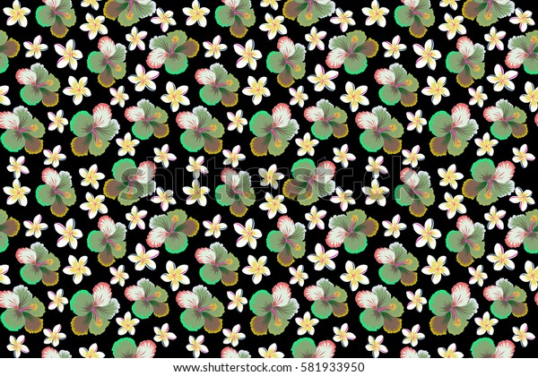 Aloha Hawaiian Shirt raster Hibiscus Pattern On black Background in pink, green and neutral Colors.